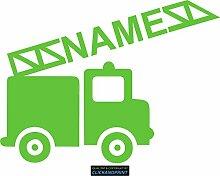 CLICKANDPRINT Aufkleber » Feuerwehr mit Namen, 140x104,0cm, Lindgrün • Dekoaufkleber / Autoaufkleber / Sticker / Decal / Vinyl