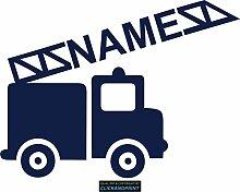 CLICKANDPRINT Aufkleber » Feuerwehr mit Namen, 140x104,0cm, Metallic Tiefblau • Dekoaufkleber / Autoaufkleber / Sticker / Decal / Vinyl