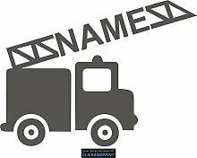 CLICKANDPRINT Aufkleber » Feuerwehr mit Namen, 150x111,4cm, Aluminium Metallic • Dekoaufkleber / Autoaufkleber / Sticker / Decal / Vinyl