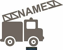 CLICKANDPRINT Aufkleber » Feuerwehr mit Namen, 150x111,4cm, Hellbraun Metallic • Dekoaufkleber / Autoaufkleber / Sticker / Decal / Vinyl