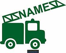 CLICKANDPRINT Aufkleber » Feuerwehr mit Namen, 150x111,4cm, Smaragdgrün • Dekoaufkleber / Autoaufkleber / Sticker / Decal / Vinyl