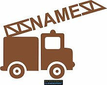 CLICKANDPRINT Aufkleber » Feuerwehr mit Namen, 50x37,1cm, Rotgold Metallic • Dekoaufkleber / Autoaufkleber / Sticker / Decal / Vinyl