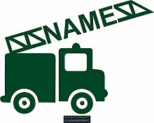 CLICKANDPRINT Aufkleber » Feuerwehr mit Namen, 60x44,6cm, Dunkelgrün • Dekoaufkleber / Autoaufkleber / Sticker / Decal / Vinyl