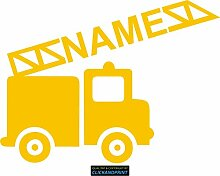 CLICKANDPRINT Aufkleber » Feuerwehr mit Namen, 60x44,6cm, Gelb • Dekoaufkleber / Autoaufkleber / Sticker / Decal / Vinyl
