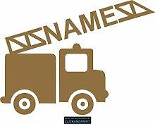 CLICKANDPRINT Aufkleber » Feuerwehr mit Namen, 60x44,6cm, Gold Metallic • Dekoaufkleber / Autoaufkleber / Sticker / Decal / Vinyl