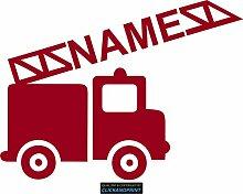 CLICKANDPRINT Aufkleber » Feuerwehr mit Namen, 60x44,6cm, Rot Metallic • Dekoaufkleber / Autoaufkleber / Sticker / Decal / Vinyl