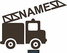 CLICKANDPRINT Aufkleber » Feuerwehr mit Namen, 70x52,0cm, Carbon Oracal weiß matt • Dekoaufkleber / Autoaufkleber / Sticker / Decal / Vinyl