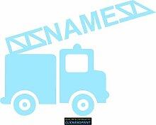 CLICKANDPRINT Aufkleber » Feuerwehr mit Namen, 70x52,0cm, Glasdekor Frosted Glass lichtblau • Dekoaufkleber / Autoaufkleber / Sticker / Decal / Vinyl