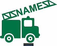 CLICKANDPRINT Aufkleber » Feuerwehr mit Namen, 70x52,0cm, Grün Reflektierend • Dekoaufkleber / Autoaufkleber / Sticker / Decal / Vinyl