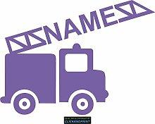 CLICKANDPRINT Aufkleber » Feuerwehr mit Namen, 70x52,0cm, Lavendel • Dekoaufkleber / Autoaufkleber / Sticker / Decal / Vinyl