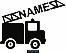 CLICKANDPRINT Aufkleber » Feuerwehr mit Namen, 70x52,0cm, Schwarz • Dekoaufkleber / Autoaufkleber / Sticker / Decal / Vinyl