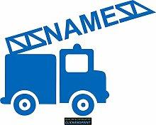 CLICKANDPRINT Aufkleber » Feuerwehr mit Namen, 80x59,4cm, Azurblau • Dekoaufkleber / Autoaufkleber / Sticker / Decal / Vinyl