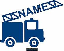 CLICKANDPRINT Aufkleber » Feuerwehr mit Namen, 80x59,4cm, Blau • Dekoaufkleber / Autoaufkleber / Sticker / Decal / Vinyl