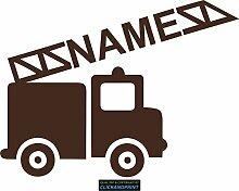 CLICKANDPRINT Aufkleber » Feuerwehr mit Namen, 80x59,4cm, Braun • Dekoaufkleber / Autoaufkleber / Sticker / Decal / Vinyl
