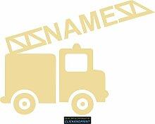 CLICKANDPRINT Aufkleber » Feuerwehr mit Namen, 80x59,4cm, Creme • Dekoaufkleber / Autoaufkleber / Sticker / Decal / Vinyl