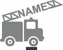CLICKANDPRINT Aufkleber » Feuerwehr mit Namen, 80x59,4cm, Silbergrau Metallic • Dekoaufkleber / Autoaufkleber / Sticker / Decal / Vinyl