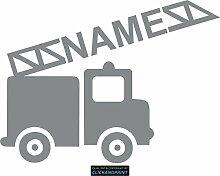 CLICKANDPRINT Aufkleber » Feuerwehr mit Namen, 80x59,4cm, Telegrau • Dekoaufkleber / Autoaufkleber / Sticker / Decal / Vinyl