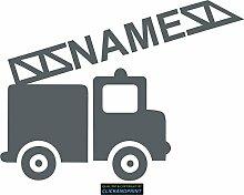 CLICKANDPRINT Aufkleber » Feuerwehr mit Namen, 90x66,9cm, Eisengrau • Dekoaufkleber / Autoaufkleber / Sticker / Decal / Vinyl
