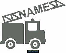 CLICKANDPRINT Aufkleber » Feuerwehr mit Namen, 90x66,9cm, Grau • Dekoaufkleber / Autoaufkleber / Sticker / Decal / Vinyl