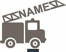 CLICKANDPRINT Aufkleber » Feuerwehr mit Namen, 90x66,9cm, Hellbraun Metallic • Dekoaufkleber / Autoaufkleber / Sticker / Decal / Vinyl