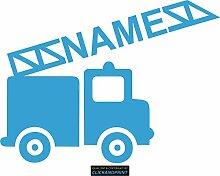 CLICKANDPRINT Aufkleber » Feuerwehr mit Namen, 90x66,9cm, Lichtblau • Dekoaufkleber / Autoaufkleber / Sticker / Decal / Vinyl
