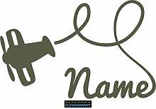 CLICKANDPRINT Aufkleber » Flugzeug mit Namen, 120x76,4cm, Metallic Steppengrün • Dekoaufkleber / Autoaufkleber / Sticker / Decal / Vinyl