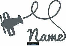 CLICKANDPRINT Aufkleber » Flugzeug mit Namen, 170x108,2cm, Eisengrau • Dekoaufkleber / Autoaufkleber / Sticker / Decal / Vinyl