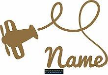 CLICKANDPRINT Aufkleber » Flugzeug mit Namen, 170x108,2cm, Gold Metallic • Dekoaufkleber / Autoaufkleber / Sticker / Decal / Vinyl