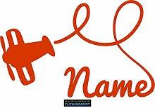 CLICKANDPRINT Aufkleber » Flugzeug mit Namen, 60x38,2cm, Rotorange • Dekoaufkleber / Autoaufkleber / Sticker / Decal / Vinyl