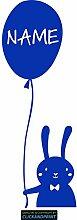 CLICKANDPRINT Aufkleber » Hase mit Luftballon inkl. individuellem Namen, 80x28,7cm, Brillantblau • Dekoaufkleber / Autoaufkleber / Sticker / Decal / Vinyl