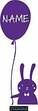 CLICKANDPRINT Aufkleber » Hase mit Luftballon inkl. individuellem Namen, 170x60,9cm, Hellviolett • Dekoaufkleber / Autoaufkleber / Sticker / Decal / Vinyl
