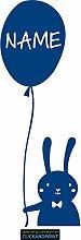 CLICKANDPRINT Aufkleber » Hase mit Luftballon inkl. individuellem Namen, 150x53,7cm, Blau Reflektierend • Dekoaufkleber / Autoaufkleber / Sticker / Decal / Vinyl