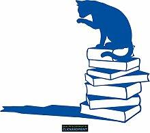 CLICKANDPRINT Aufkleber » Katze auf Büchern,