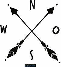 CLICKANDPRINT Aufkleber » Kompass mit Pfeilen, 70x66,8cm, Schwarz • Dekoaufkleber / Autoaufkleber / Sticker / Decal / Vinyl