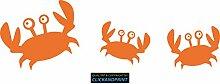 CLICKANDPRINT Aufkleber » Krabbe mit Kindern , 110x35,5cm, Hellrotorange • Wandtattoo / Wandaufkleber / Wandsticker / Wanddeko / Vinyl
