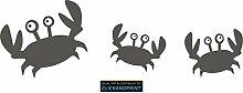 CLICKANDPRINT Aufkleber » Krabbe mit Kindern , 140x45,1cm, Aluminium Metallic • Dekoaufkleber / Autoaufkleber / Sticker / Decal / Vinyl