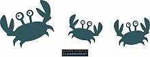 CLICKANDPRINT Aufkleber » Krabbe mit Kindern , 140x45,1cm, Mint Metallic • Dekoaufkleber / Autoaufkleber / Sticker / Decal / Vinyl