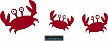 CLICKANDPRINT Aufkleber » Krabbe mit Kindern , 140x45,1cm, Rot Metallic • Dekoaufkleber / Autoaufkleber / Sticker / Decal / Vinyl