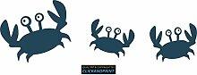 CLICKANDPRINT Aufkleber » Krabbe mit Kindern , 160x51,6cm, Blaugrau Metallic • Dekoaufkleber / Autoaufkleber / Sticker / Decal / Vinyl