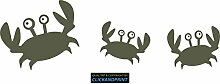 CLICKANDPRINT Aufkleber » Krabbe mit Kindern , 160x51,6cm, Metallic Steppengrün • Dekoaufkleber / Autoaufkleber / Sticker / Decal / Vinyl