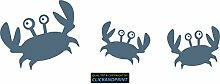 CLICKANDPRINT Aufkleber » Krabbe mit Kindern , 160x51,6cm, Metallic Taubenblau • Dekoaufkleber / Autoaufkleber / Sticker / Decal / Vinyl