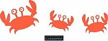 CLICKANDPRINT Aufkleber » Krabbe mit Kindern , 160x51,6cm, Neon Orange • Dekoaufkleber / Autoaufkleber / Sticker / Decal / Vinyl