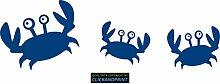 CLICKANDPRINT Aufkleber » Krabbe mit Kindern , 170x54,8cm, Blau • Dekoaufkleber / Autoaufkleber / Sticker / Decal / Vinyl