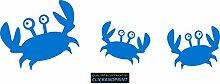CLICKANDPRINT Aufkleber » Krabbe mit Kindern , 170x54,8cm, Euroblau • Dekoaufkleber / Autoaufkleber / Sticker / Decal / Vinyl