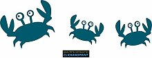 CLICKANDPRINT Aufkleber » Krabbe mit Kindern , 320x103,2cm, Petrol • Dekoaufkleber / Autoaufkleber / Sticker / Decal / Vinyl