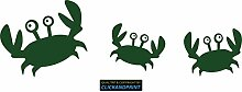 CLICKANDPRINT Aufkleber » Krabbe mit Kindern , 60x19,3cm, Metallic Laubgrün • Dekoaufkleber / Autoaufkleber / Sticker / Decal / Vinyl