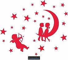 CLICKANDPRINT Aufkleber » Mondkinder mit Sternen, 130x106,5cm, Blutrot • Dekoaufkleber / Autoaufkleber / Sticker / Decal / Vinyl