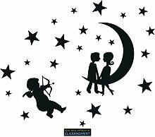 CLICKANDPRINT Aufkleber » Mondkinder mit Sternen,