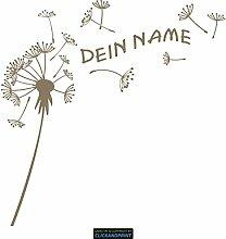 CLICKANDPRINT Aufkleber » Pusteblume mit Name, 120x118,9cm, Messing Metallic • Dekoaufkleber / Autoaufkleber / Sticker / Decal / Vinyl