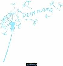 CLICKANDPRINT Aufkleber » Pusteblume mit Name, 40x39,6cm, Glasdekor Frosted Glass lichtblau • Dekoaufkleber / Autoaufkleber / Sticker / Decal / Vinyl